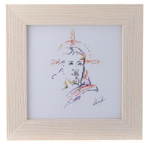 Quadro Cristo Speranza stampa acquarello 16x16 1