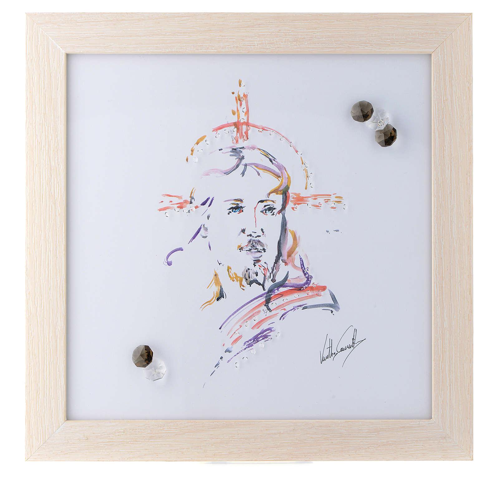 Cuadro Cristo Esperanza impreso acuarela 27x27 cm 3