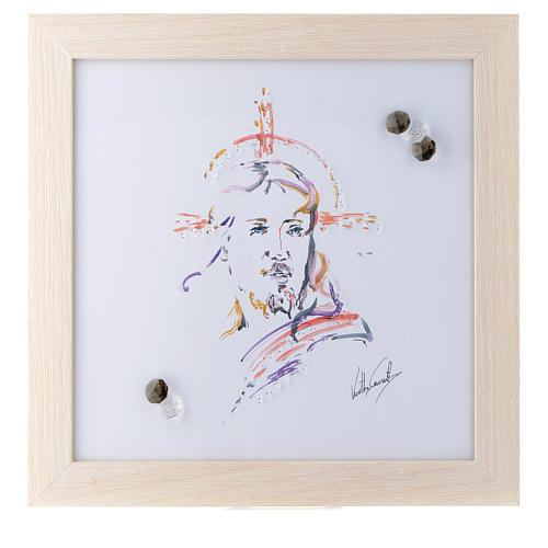 Quadro Cristo Speranza stampa acquarello 27X27 cm 1