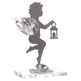 Gastgeschenk Engel mit Laterne aus Edelstahl und Kristall, 7 cm s1