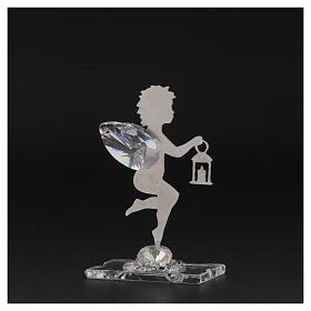 Gastgeschenk Engel mit Laterne aus Edelstahl und Kristall, 7 cm s3
