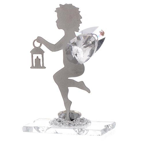 Gastgeschenk Engel mit Laterne aus Edelstahl und Kristall, 7 cm 2