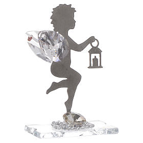 Angel bombonniere with lantern in stainless steel and crystal 7 cm s1