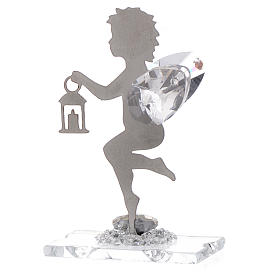 Angel bombonniere with lantern in stainless steel and crystal 7 cm s2