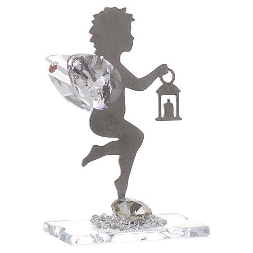 Angel bombonniere with lantern in stainless steel and crystal 7 cm 1