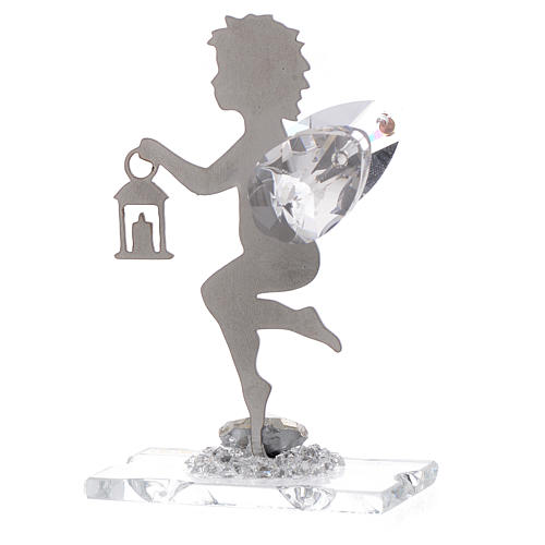 Angel bombonniere with lantern in stainless steel and crystal 7 cm 2
