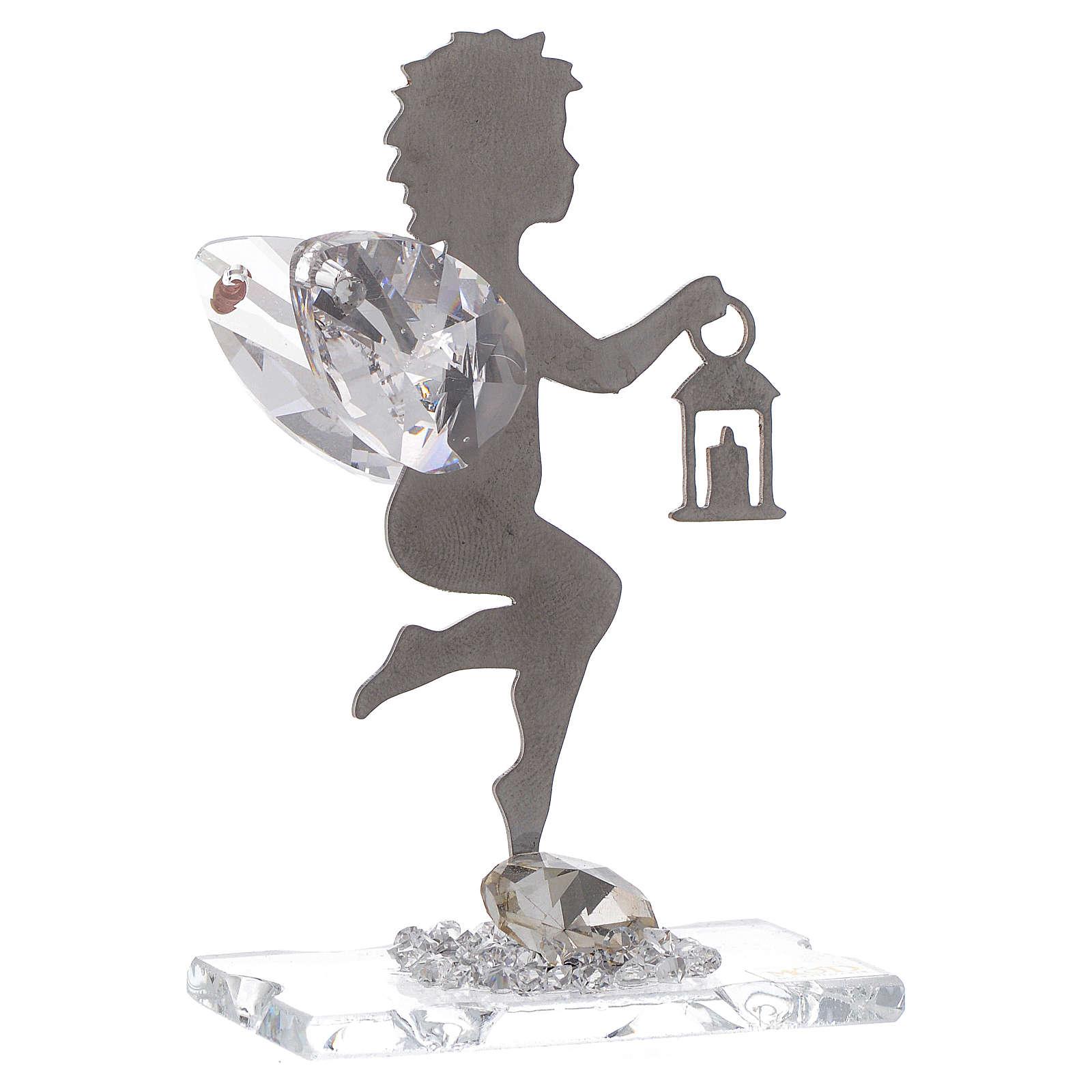 Bomboniera Angelo lanterna inox cristallo h. 7 cm 3