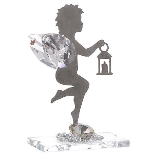 Bomboniera Angelo lanterna inox cristallo h. 7 cm 1