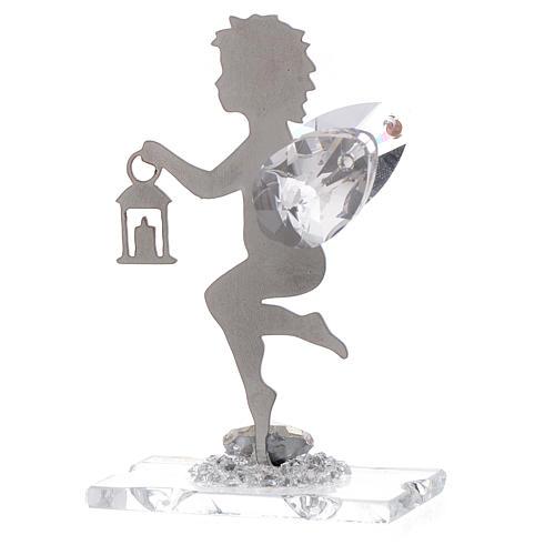 Bomboniera Angelo lanterna inox cristallo h. 7 cm 2