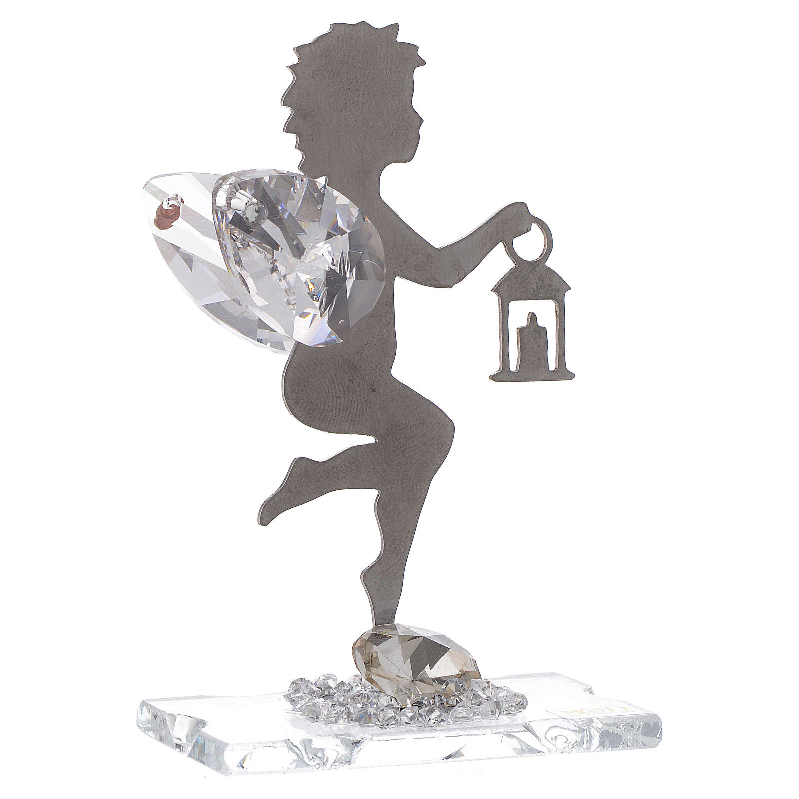 Angel bombonniere with lantern in stainless steel and crystal 7 cm 3