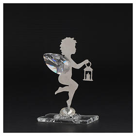 Angel bombonniere with lantern in stainless steel and crystal 7 cm s3
