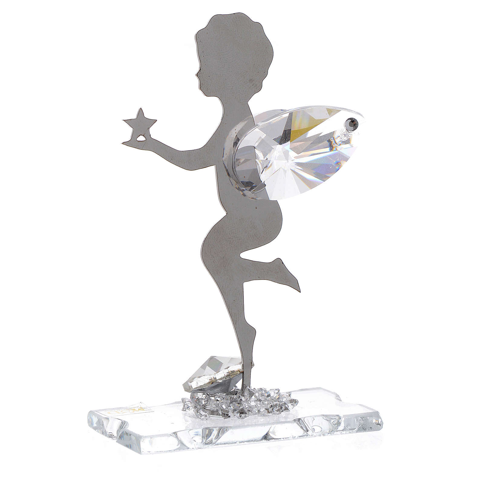 Angel bombonniere with star in stainless steel and crystal 7 cm 3