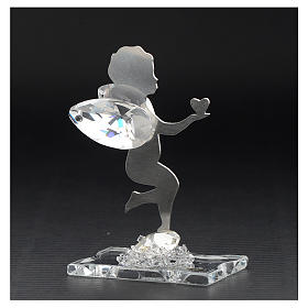 Bomboniera Angelo cuore inox cristallo h 7 cm s3