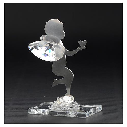 Bomboniera Angelo cuore inox cristallo h 7 cm 3