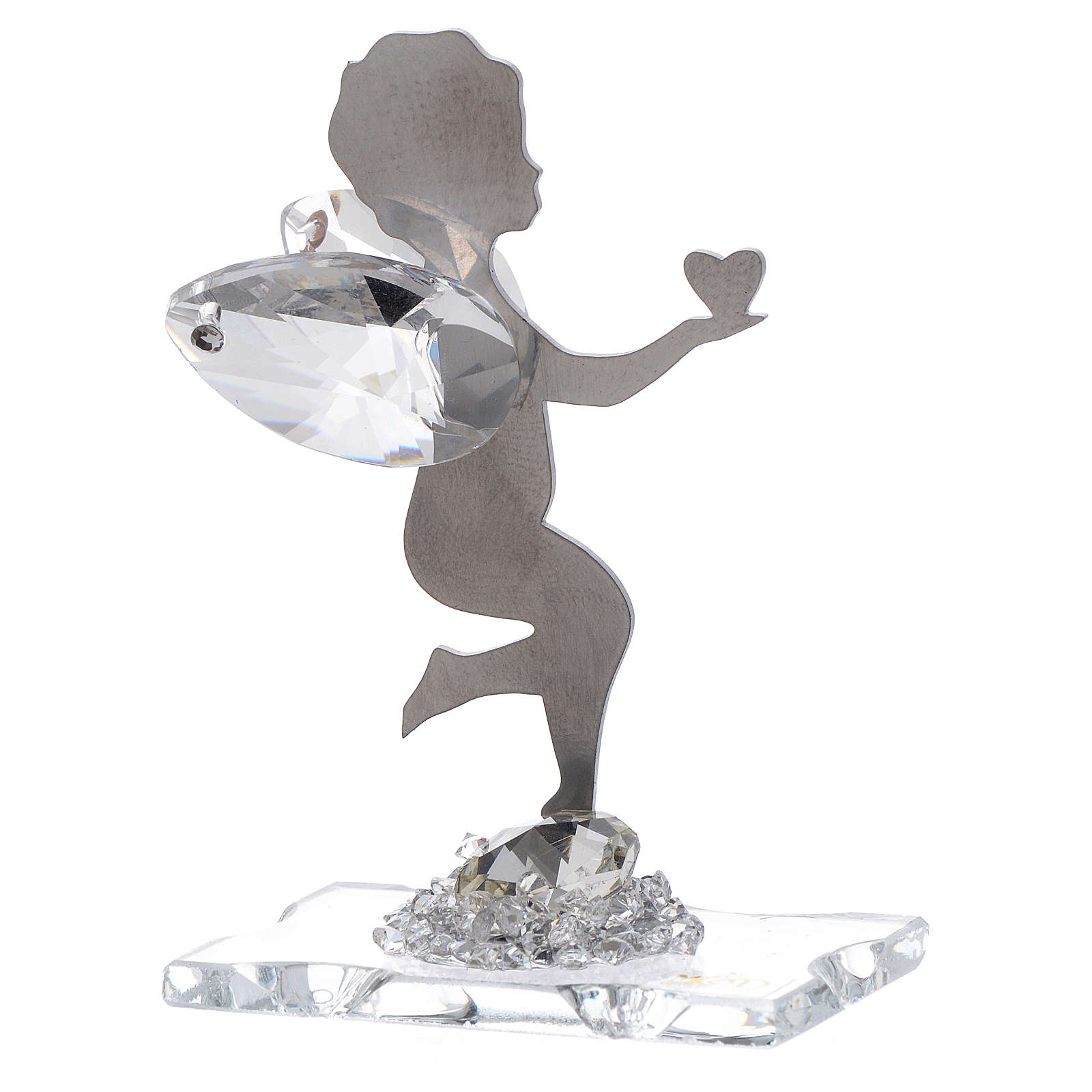 Angel bombonniere with heart in stainless steel and crystal 7 cm 3