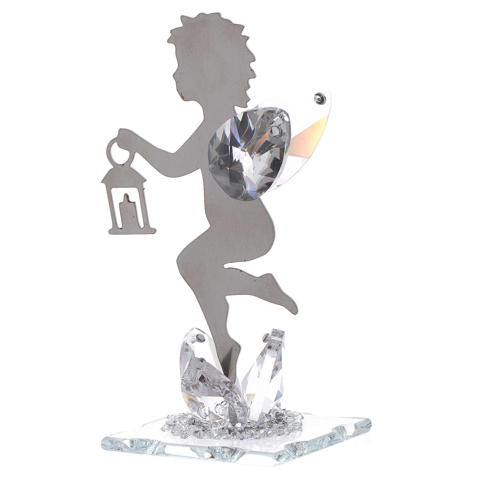 Bomboniera Angelo lanterna inox cristallo h. 11 cm 3