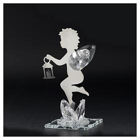 Bomboniera Angelo lanterna inox cristallo h. 11 cm s3