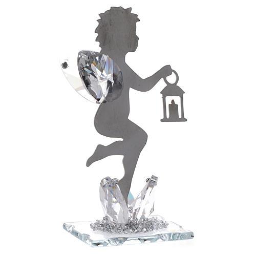 Bomboniera Angelo lanterna inox cristallo h. 11 cm 2