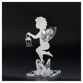 Angel bombonniere with lantern in stainless steel and crystal 11 cm s3
