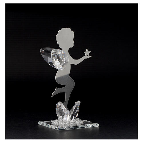 Angel bombonniere with star in stainless steel and crystal 11 cm 3