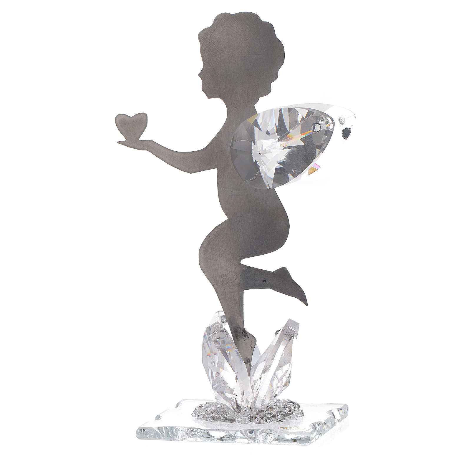 Angel bombonniere with heart in stainless steel and crystal 11 cm 3