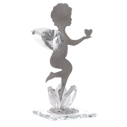 Angel bombonniere with heart in stainless steel and crystal 11 cm 1