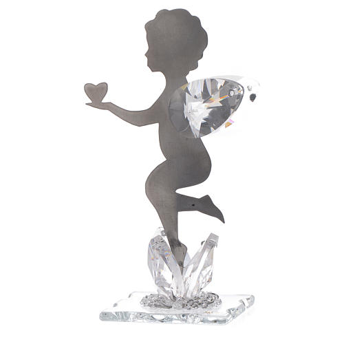 Angel bombonniere with heart in stainless steel and crystal 11 cm 2