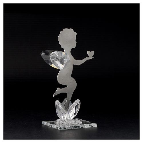 Bonbonnière Ange coeur inox cristal h 11 cm 3