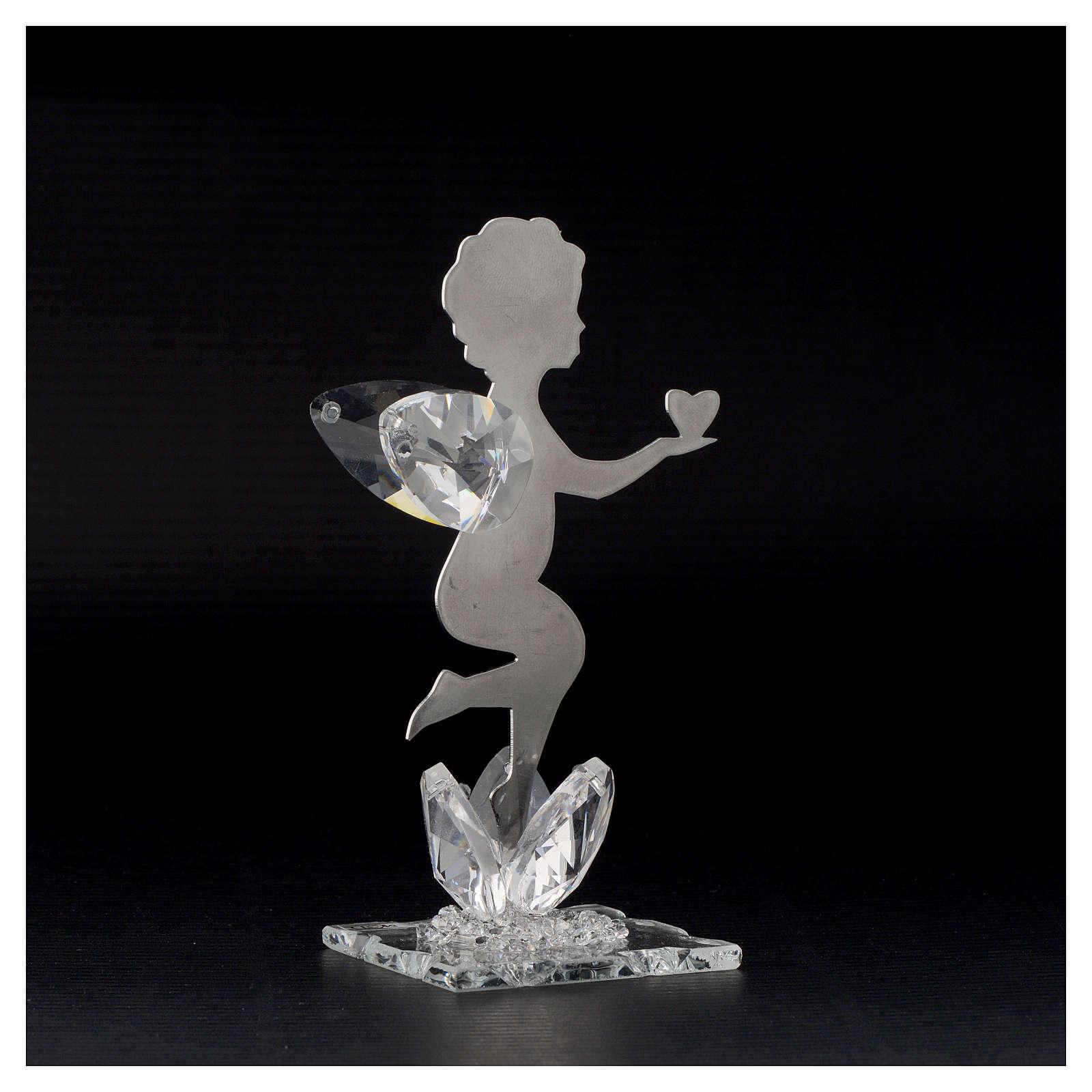 Bomboniera Angelo cuore inox cristallo h. 11 cm 3