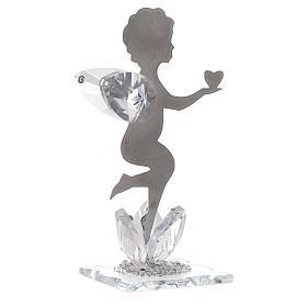Bomboniera Angelo cuore inox cristallo h. 11 cm s1