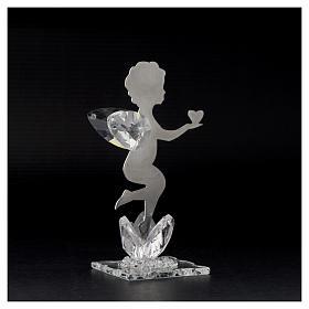 Bomboniera Angelo cuore inox cristallo h. 11 cm s3