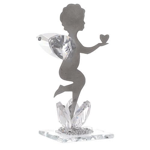 Bomboniera Angelo cuore inox cristallo h. 11 cm 1