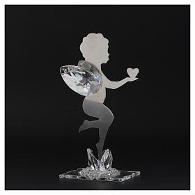 Bomboniera  Angelo cuore  inox cristallo h. 16 cm s3
