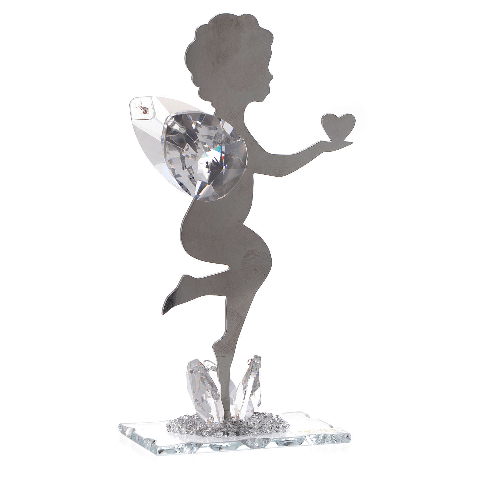 Angel bombonniere with heart in stainless steel and crystal 16 cm 3