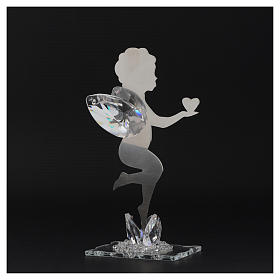 Angel bombonniere with heart in stainless steel and crystal 16 cm s3