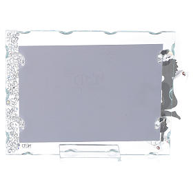 Angel photo frame bombonniere in stainless steel and crystals with lantern 9x12 cm s2