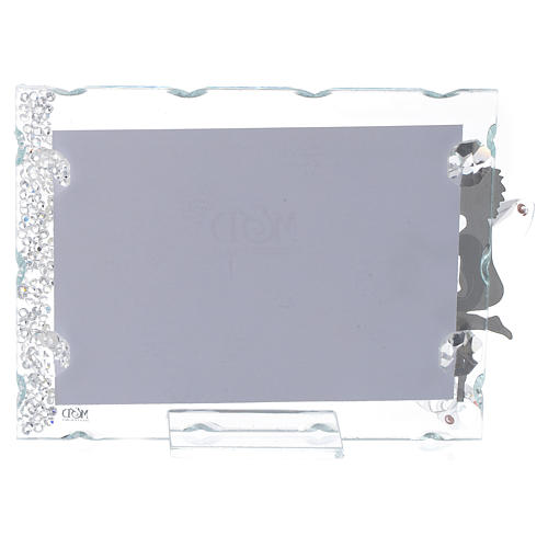 Angel photo frame bombonniere in stainless steel and crystals with lantern 9x12 cm 2