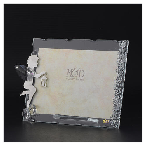 Angel photo frame bombonniere in stainless steel and crystals with lantern 9x12 cm 3