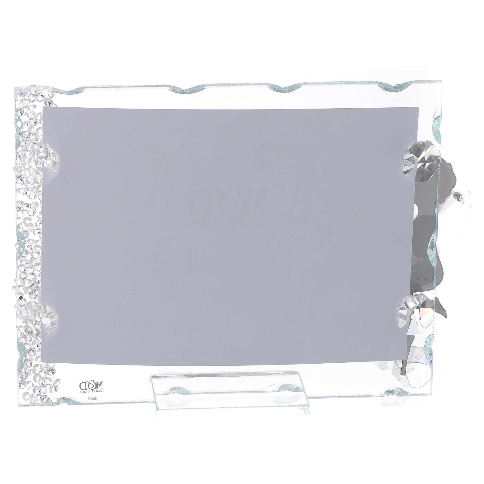Bomboniera Portafoto Angelo inox cuore 9x12 con cristalli 3