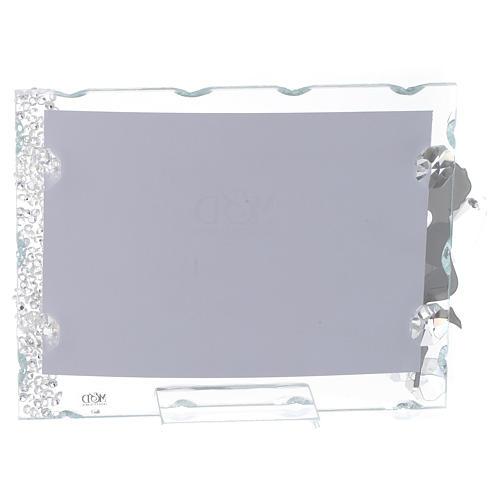 Bomboniera Portafoto Angelo inox cuore 9x12 con cristalli 2