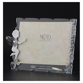 Angel photo frame bombonniere with heart in stainless steel and crystals 9x12 cm s3