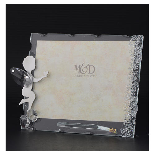 Angel photo frame bombonniere with heart in stainless steel and crystals 9x12 cm 3