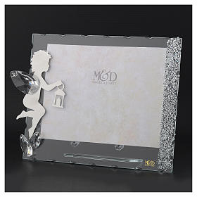 Angel photo frame in stainless steel with crystals 15x20 cm s3