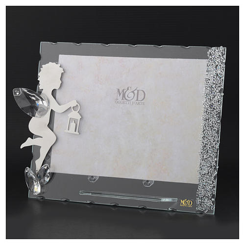 Portarretrato Ángel inoxidable linterna 15x20 cm cristales 3