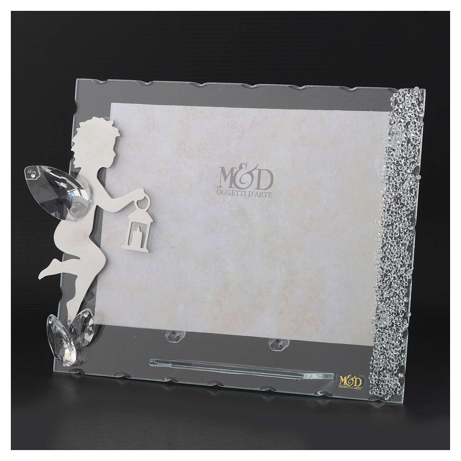 Porte-photo Ange inox lanterne 15x20 cm cristaux 3