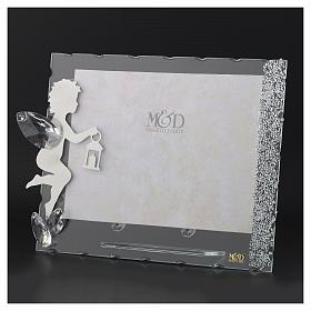 Porte-photo Ange inox lanterne 15x20 cm cristaux s3