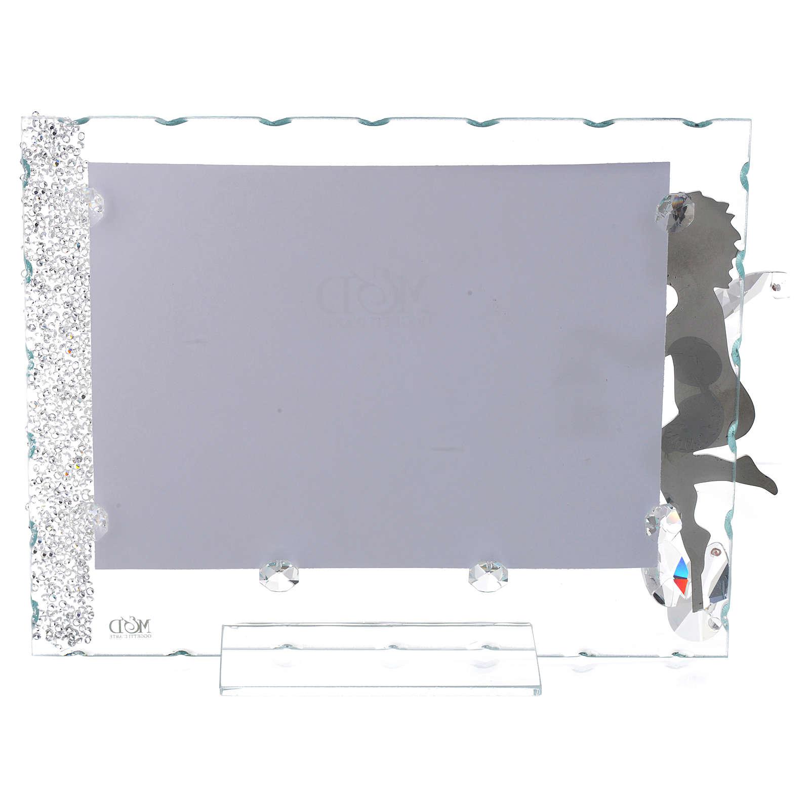 Portafoto Angelo inox lanterna 15x20 cm cristalli 3