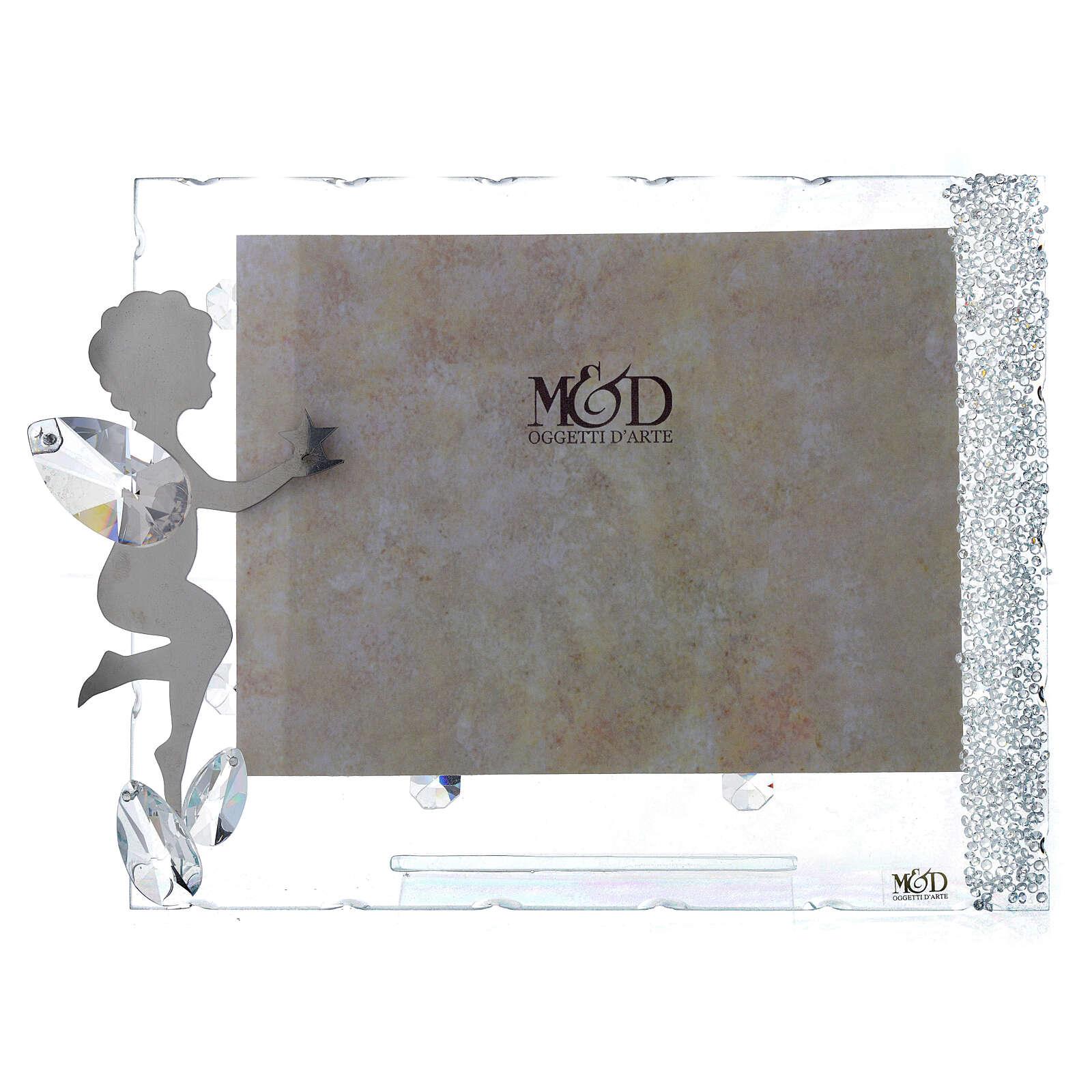 Fotorahmen Engel mit Stern aus Kristall und Edelstahl, 15x20 cm 3