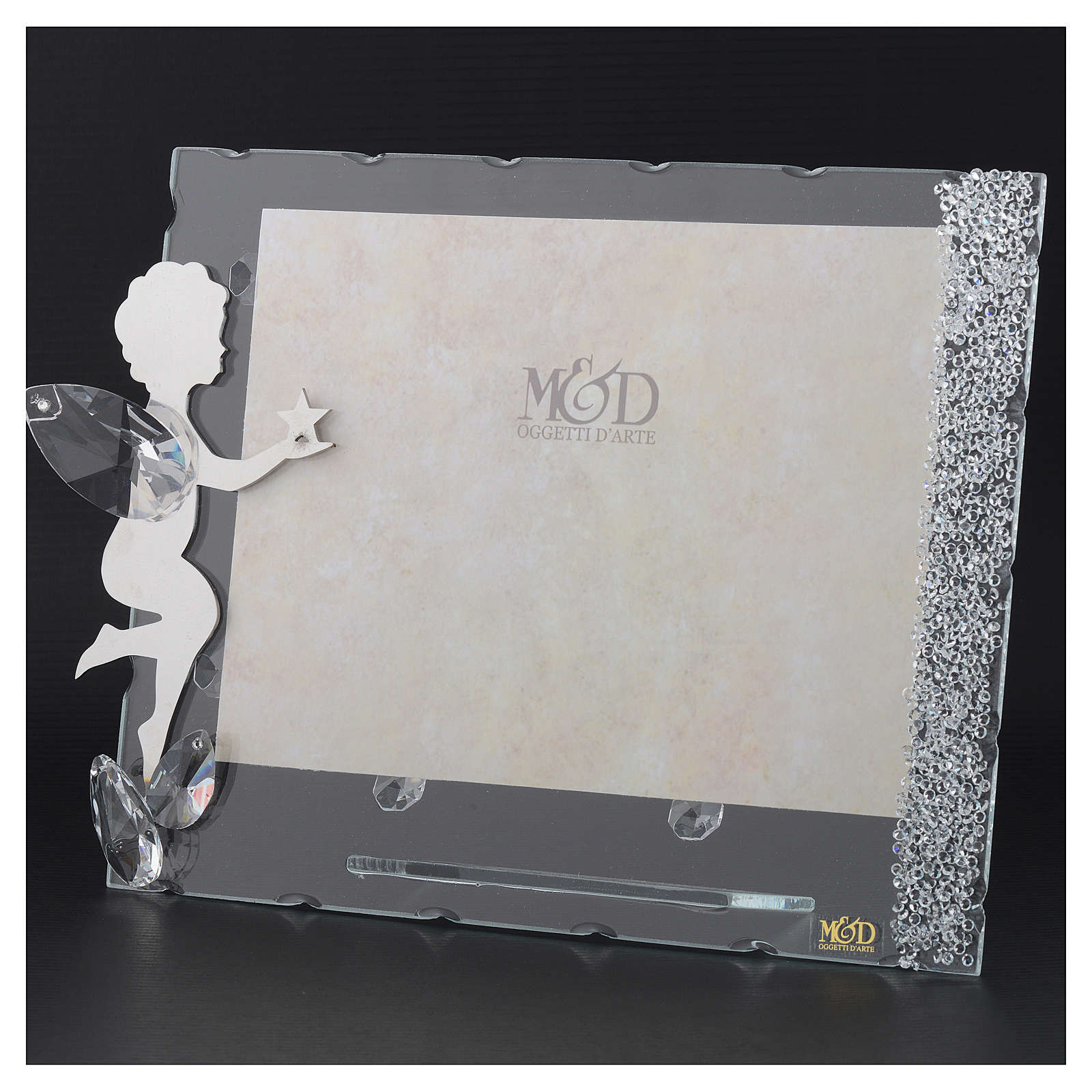 Angel photo frame with star and crystals 15x20 cm 3