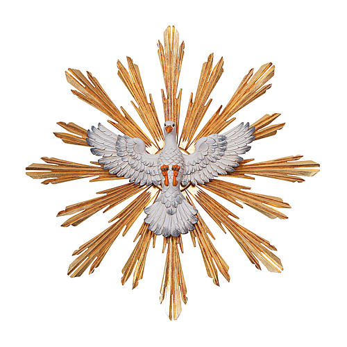 Spirito Santo con raggiera 5,5 cm diametro legno Valgardena 1